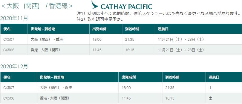 CX キャセイ便 12月 香港--関空便 運行再開 情報